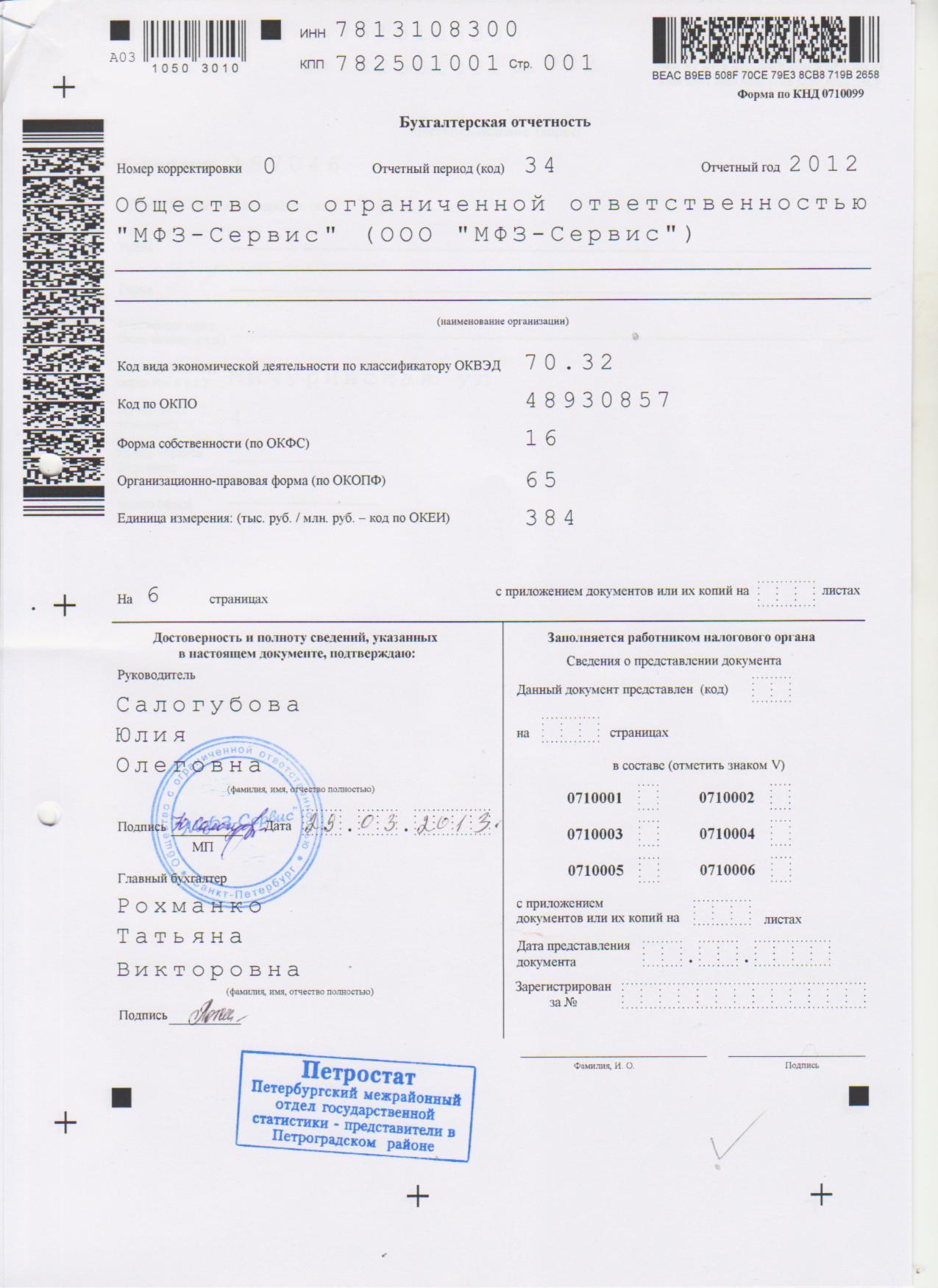 Бухгалтерская отчетность 2012 стр 1